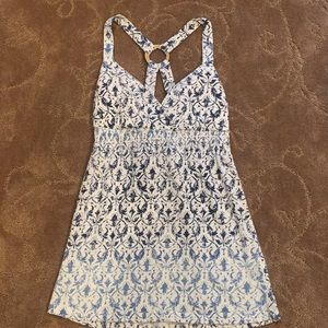 White and blue patterned ombré tank
